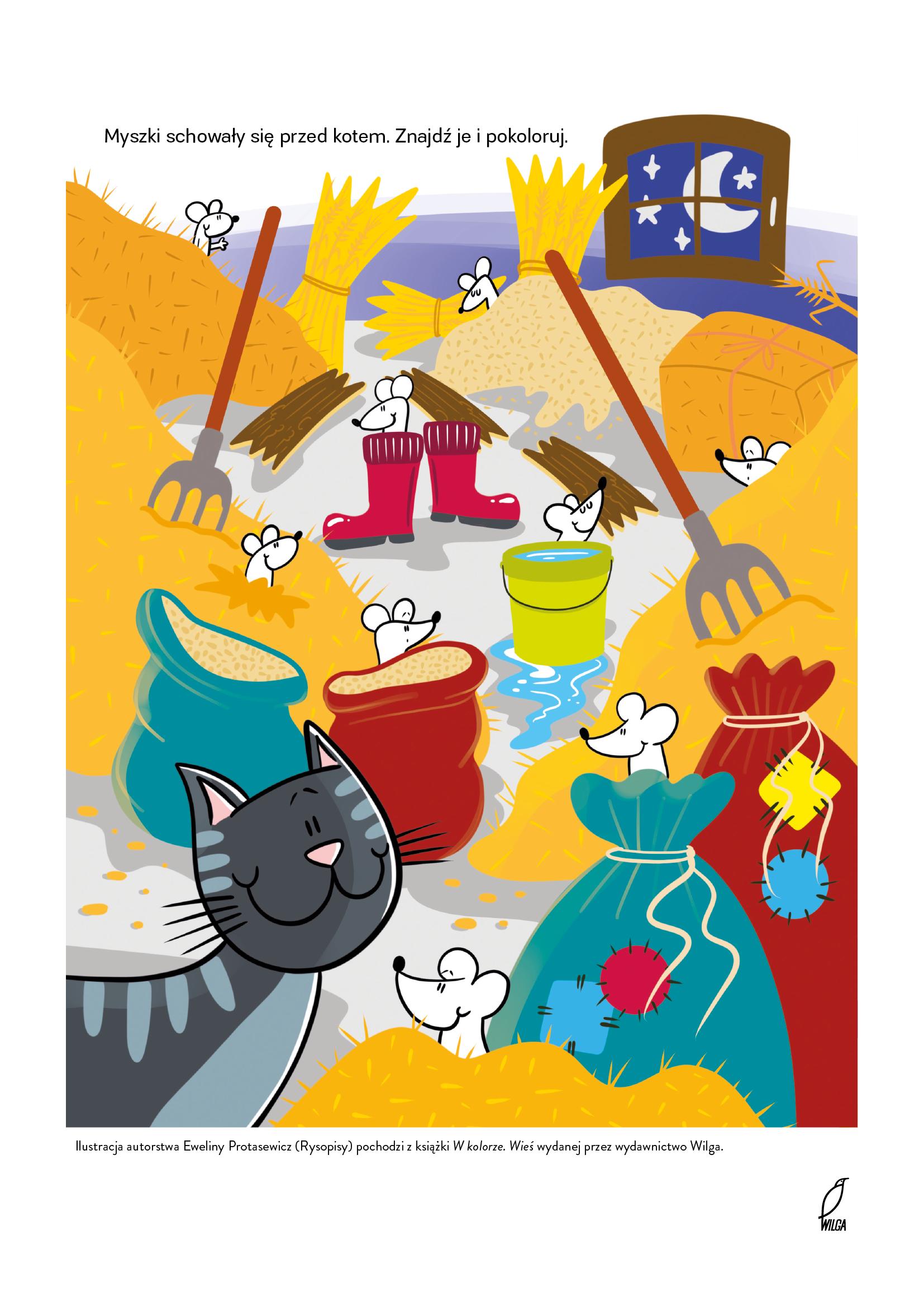 Znajdź myszki, zabawa edukacyjna do druku łamigłówki dla dzieci do pobrania
