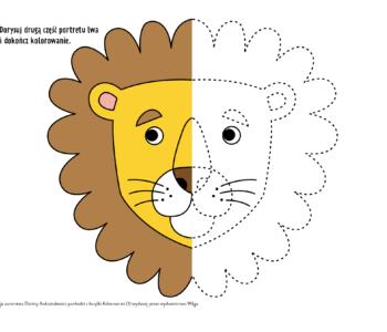 Rysuj po linii zabawy edukacyjne do wydruku lew