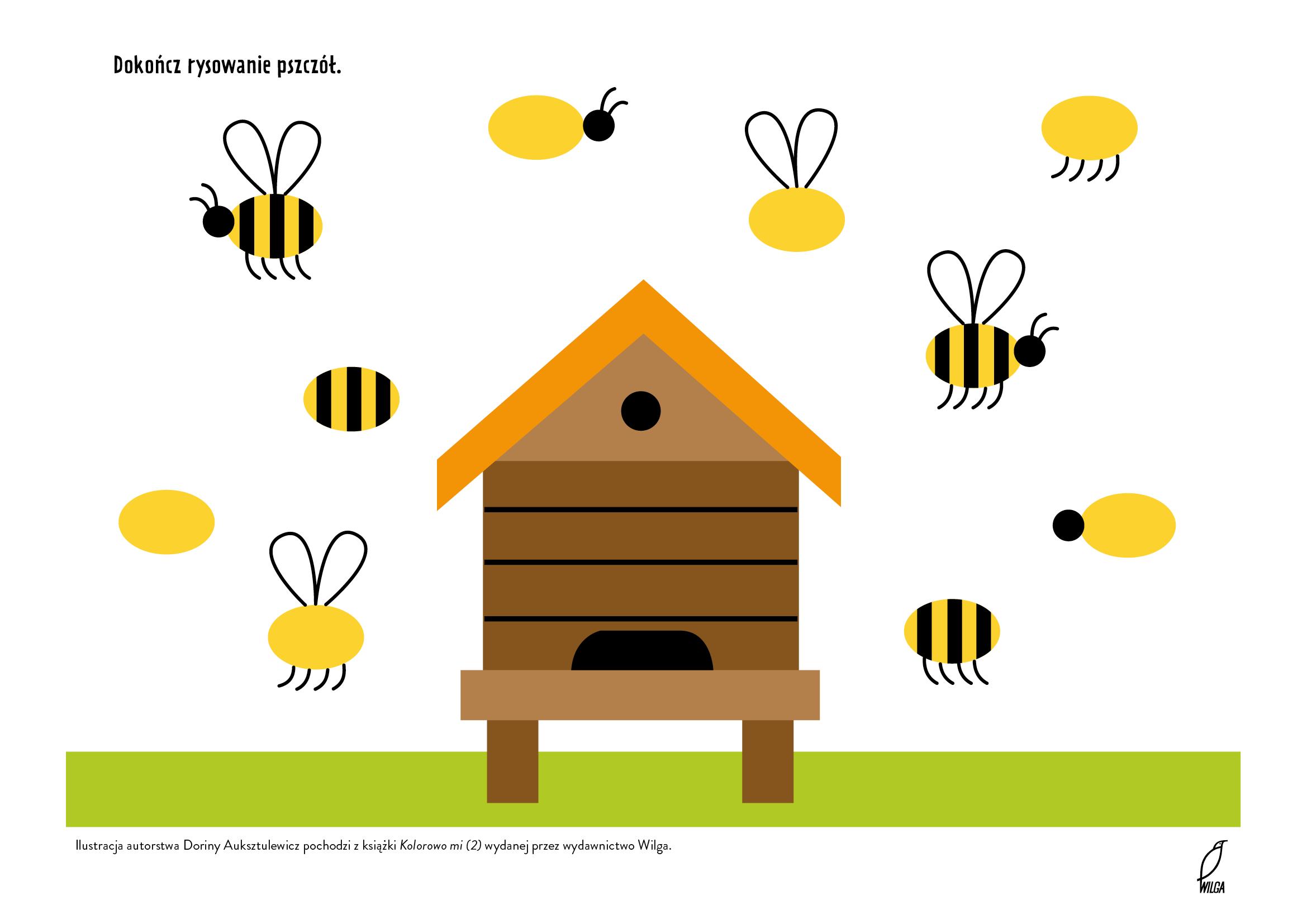 Dokończ rysowanie pszczół, karty pracy do wydruku dla przedszkolaków