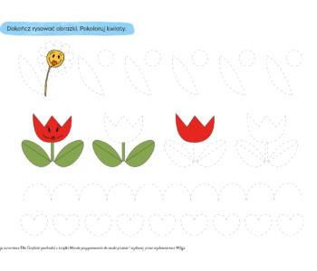 Narysuj po linii szlaczki i kwiaty, kolorowanka do druku dla dzieci