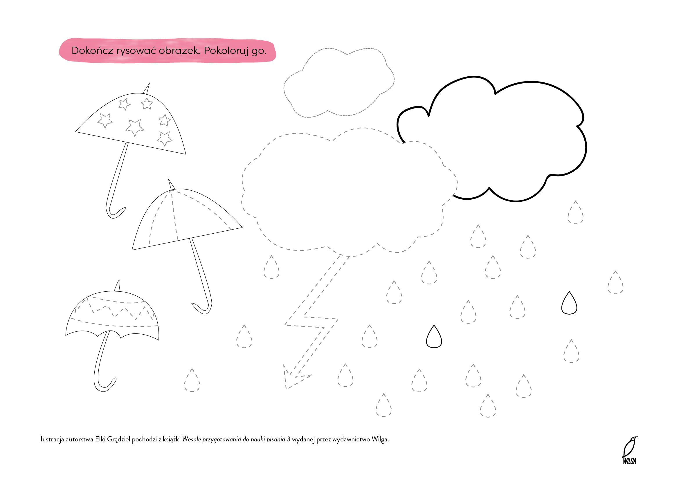 Rysuj po linii parasol kolorowanka do wydruku dla dzieci