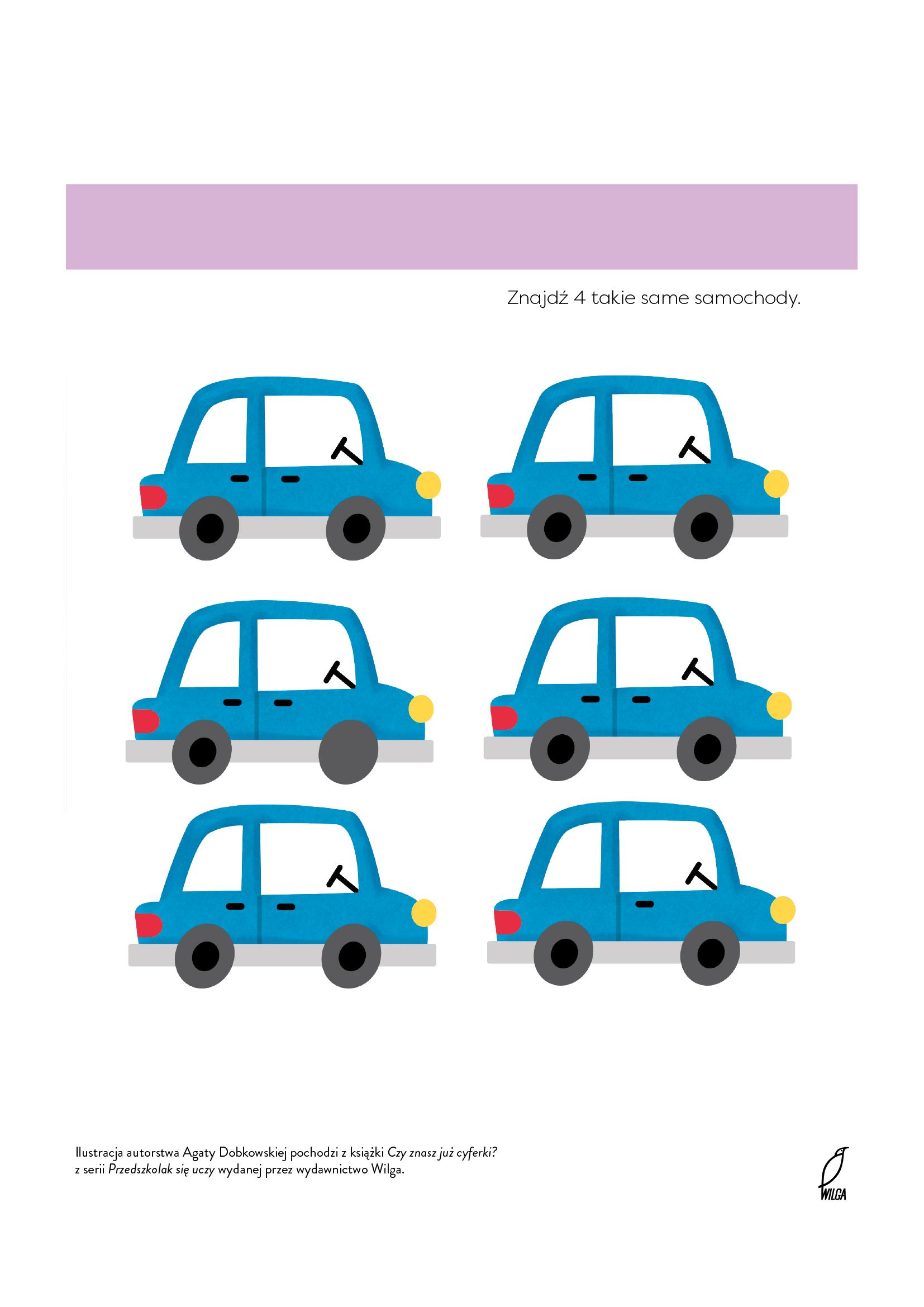 Znajdź takie same samochody, łamigłówka do druku dla chłopców. Darmowe malowanki online i karty pracy