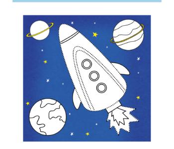 Rysowanie po śladzie - narysuj rakietę do druku, Darmowe kolorowanki online kosmos