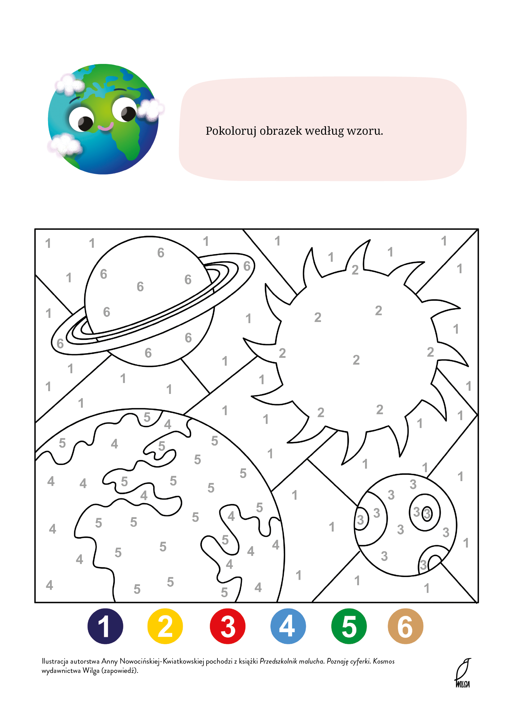 Pokoloruj kosmos według wzoru, kolorowanka do wydrukowania. Bezpłatne malowanki do pobrania