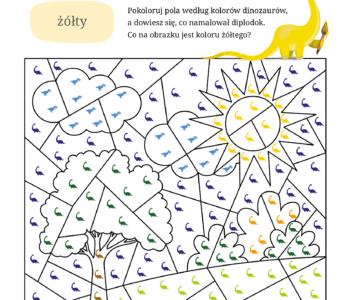 Kolorowanka do druku dinozaur koloruj według wzoru, bezpłatna malowanka