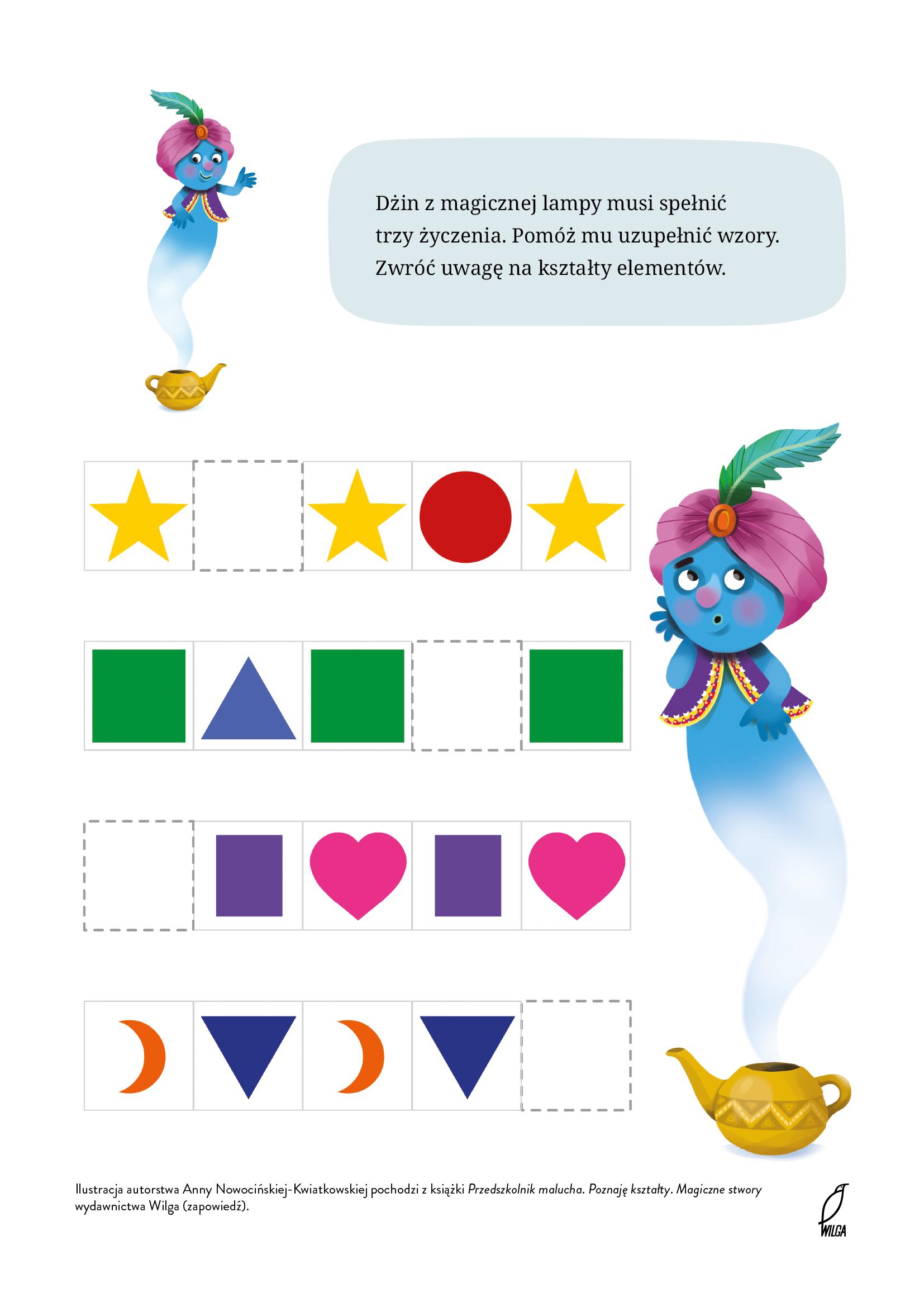 Uzupełnij figury geometryczne, karta pracy do druku. Bezpłatne kolorowanki i łamigłówki online