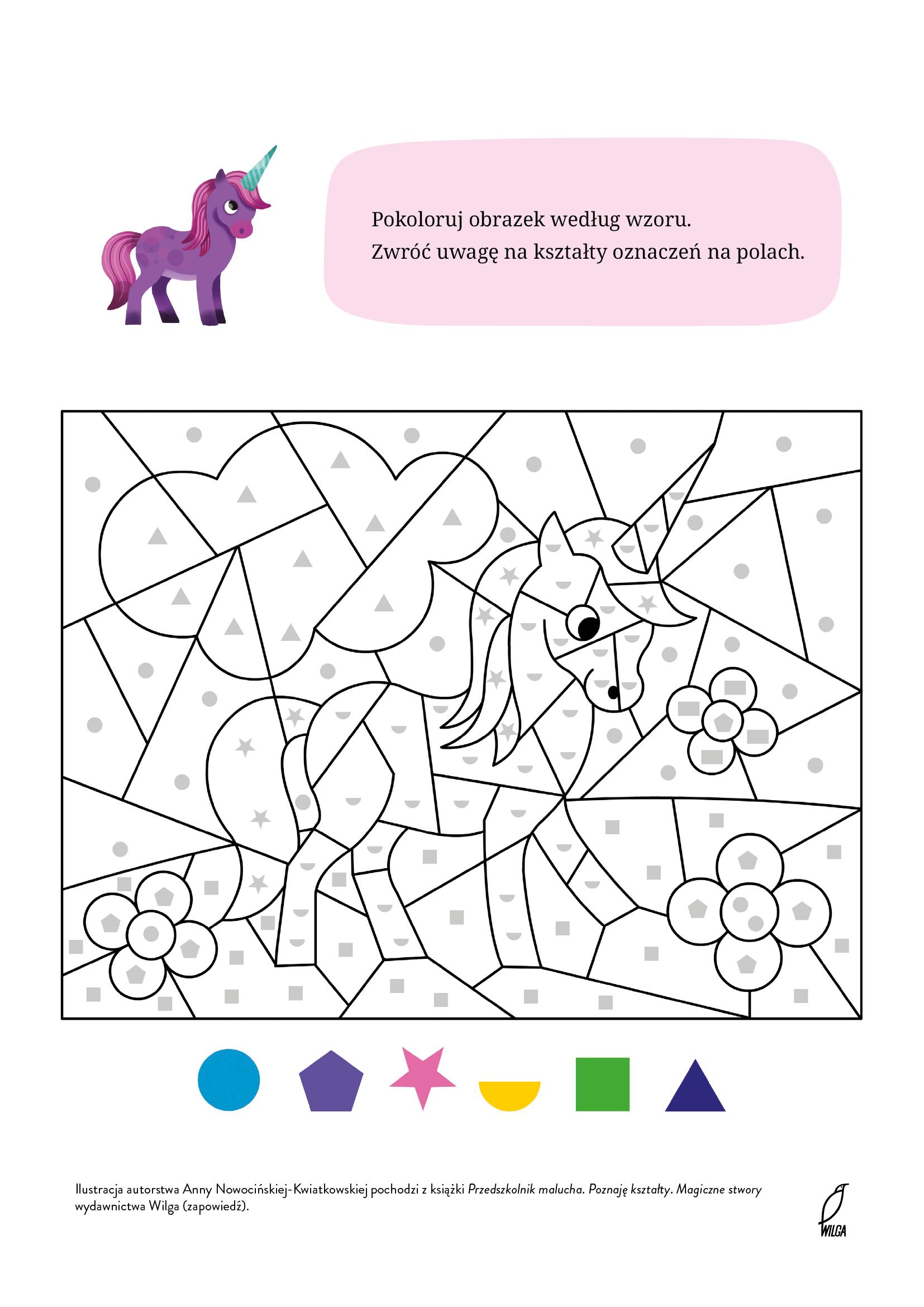 Malowanka do druku Koloruj jednorożca według wzoru
