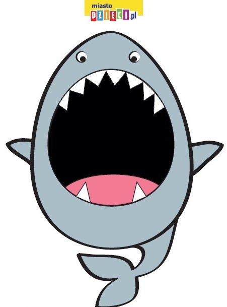 Paszcza rekina do karmienia - pobierz szablon, zabawy edukacyjne dla dzieci do druku zwierzęta do karmienia