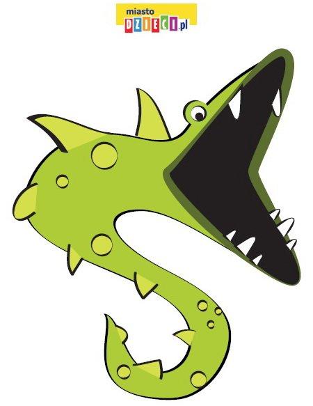 Paszcza potwora morskiego do karmienia - pobierz szablon, zwierzęta do karmienia zabawy do druku dla dzieci