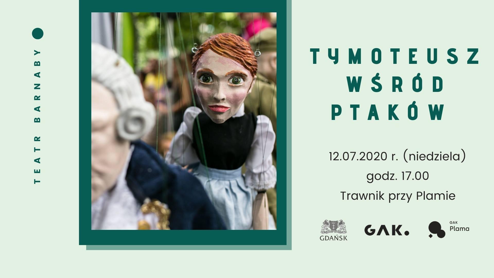 Teatr Barnaby: Tymoteusz wśród ptaków na trawniku przy Plamie GAK