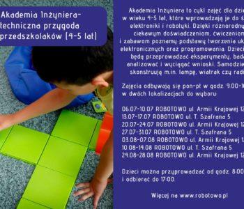 Półkolonie w wakacje 2020 r – Akademia Inżyniera (4-5 lat)