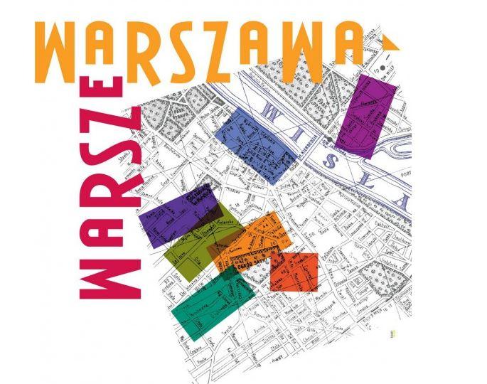 Kolorowa ilustracja z mapą Warszawy