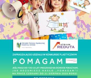 Konkurs dla dzieci Pomagam organizowany przez Atrium Reduta i OPS Ochota
