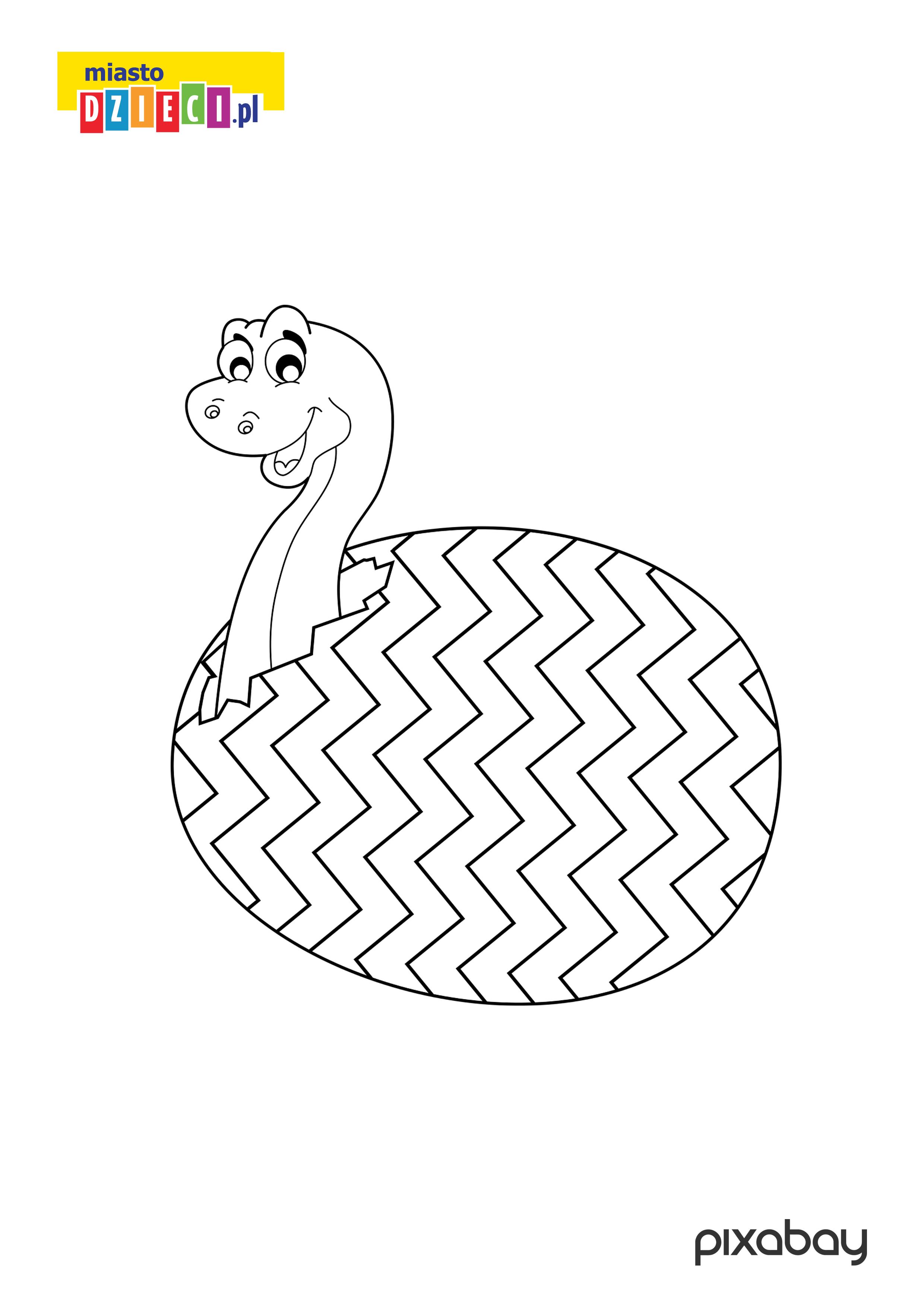 pisanka z dinozaurem - kolorowanka wielkanocna do druku