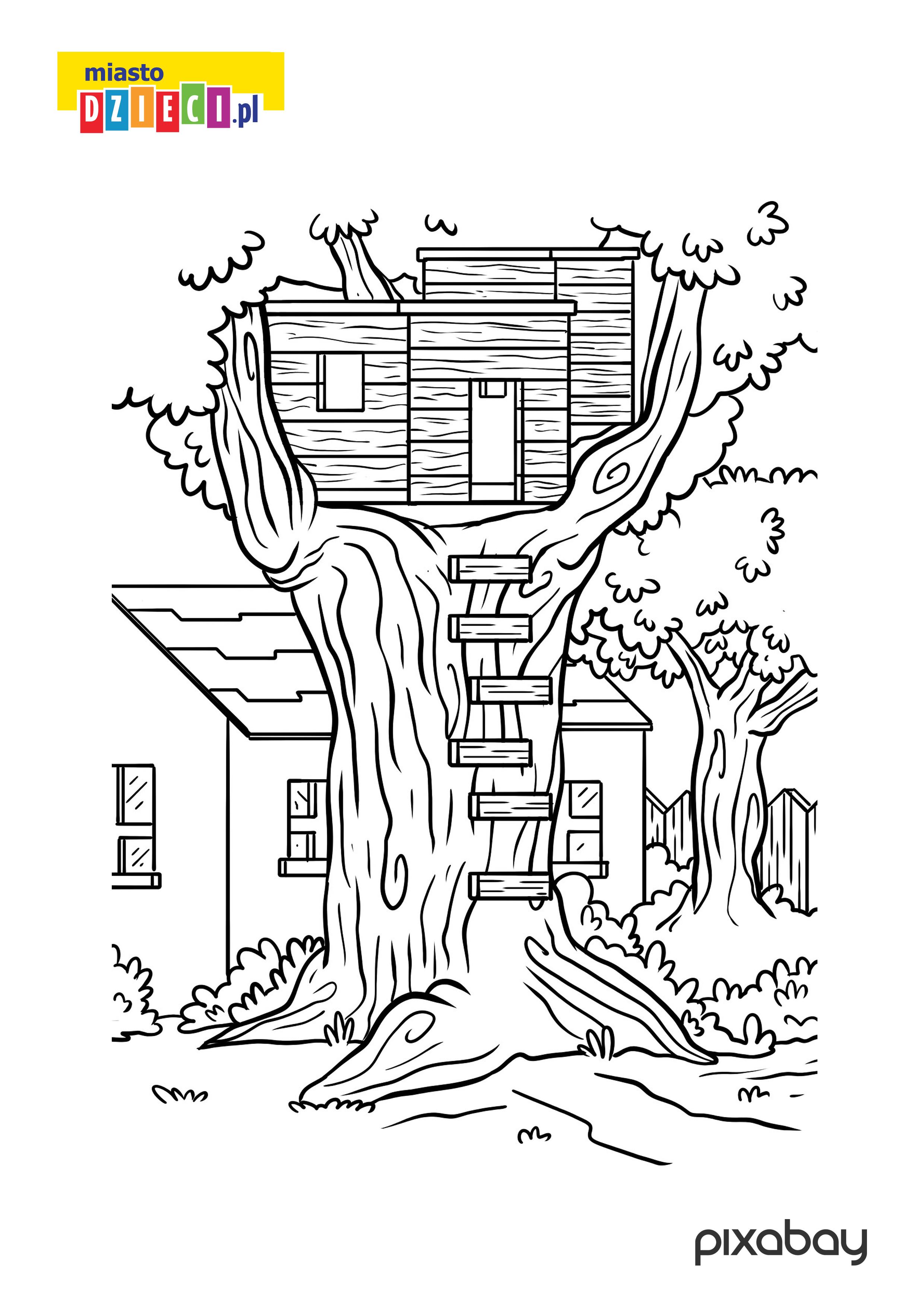 domek na drzewie - kolorowanka do druku