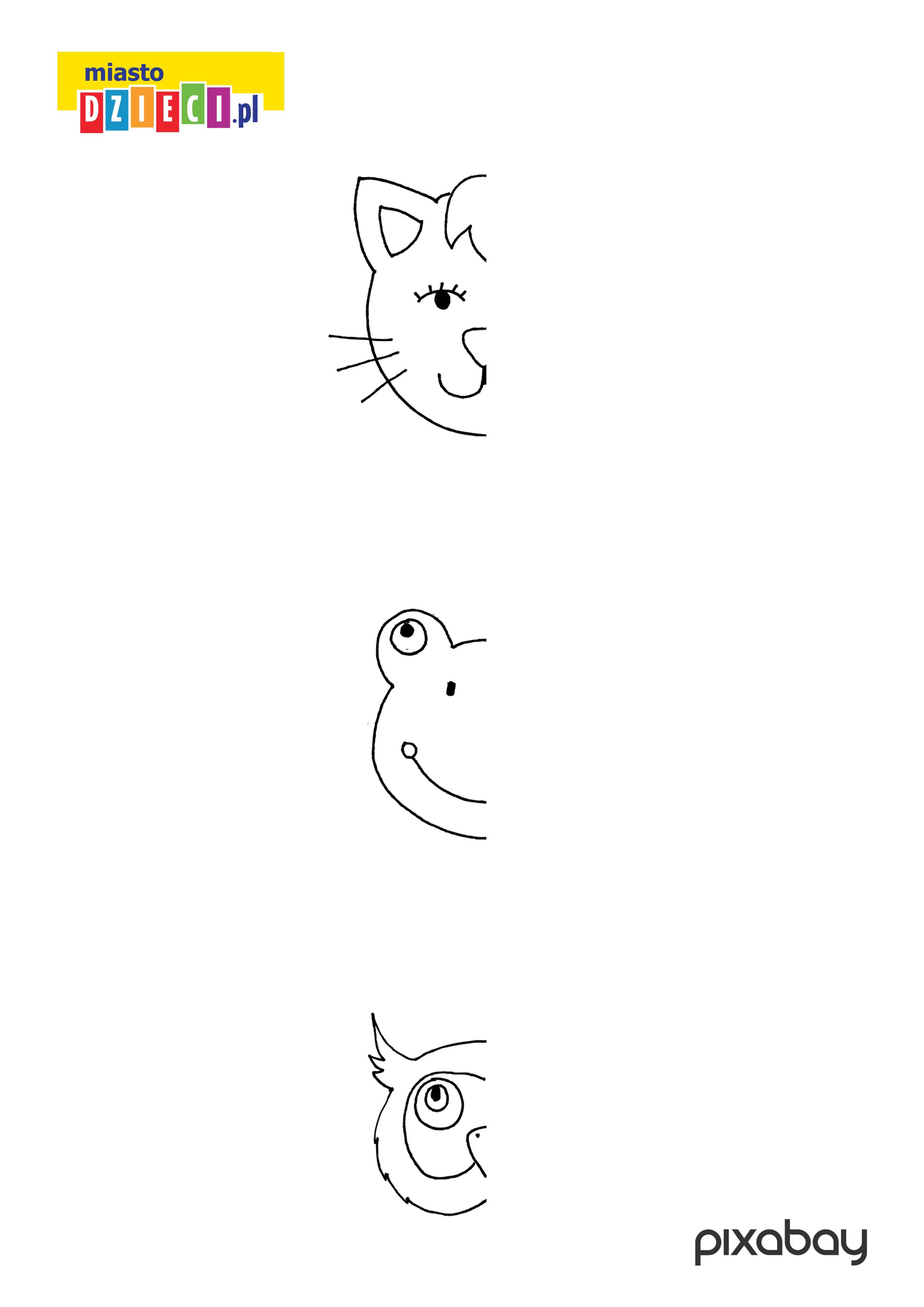kotek,żabka i sówka - dorysuj zwierzęta, kolorowanka