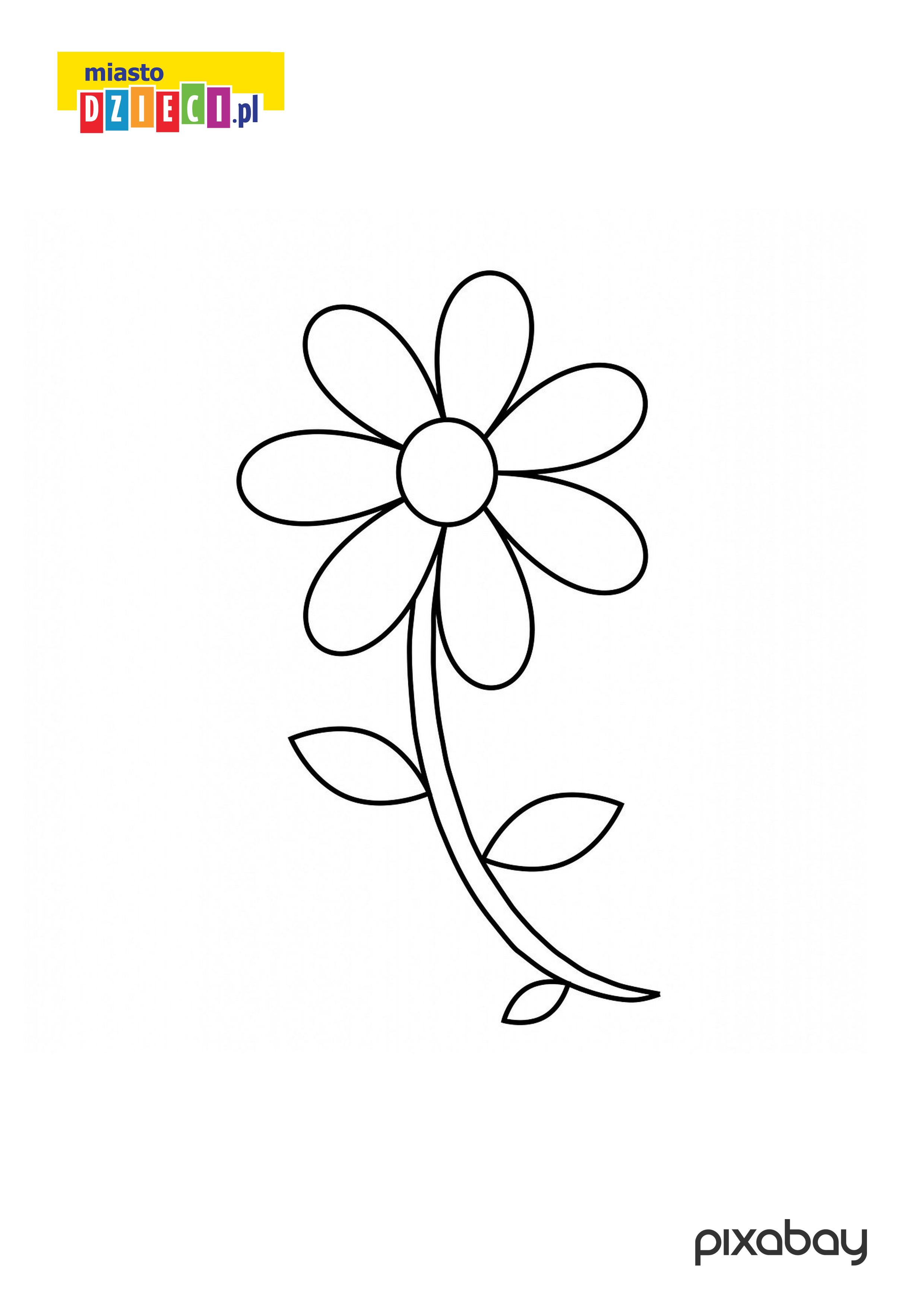 Kwiatek Kolorowanka Do Druku Dla Malych Dzieci Darmowe Malowanki Online Z Kwiatami Owocami Warzywami Miastodzieci Pl
