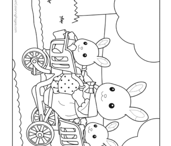 Króliczki na rowerze - kolorowanka Sylvanian Families