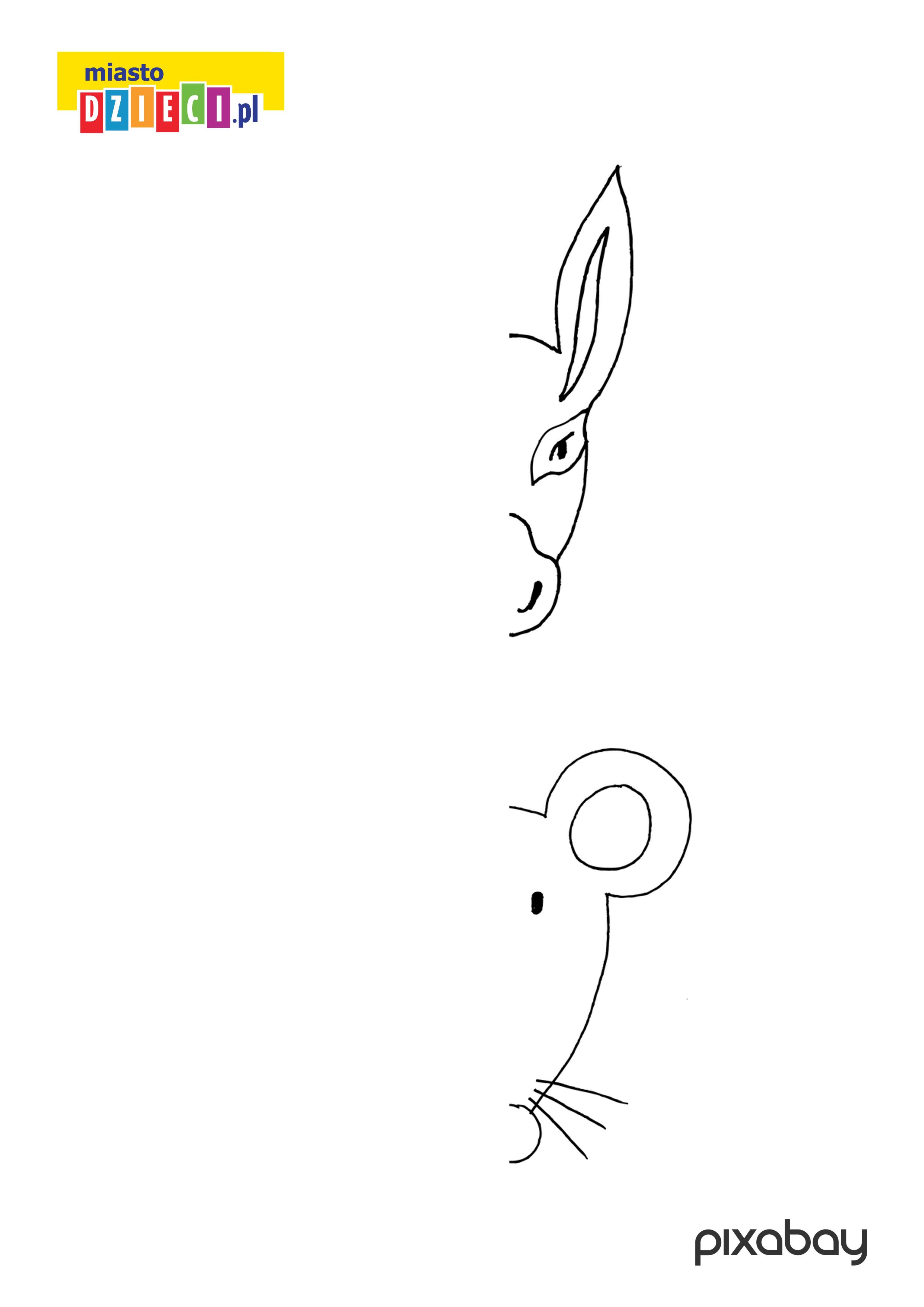 osiołek i myszka - dorysuj brakujące połówki