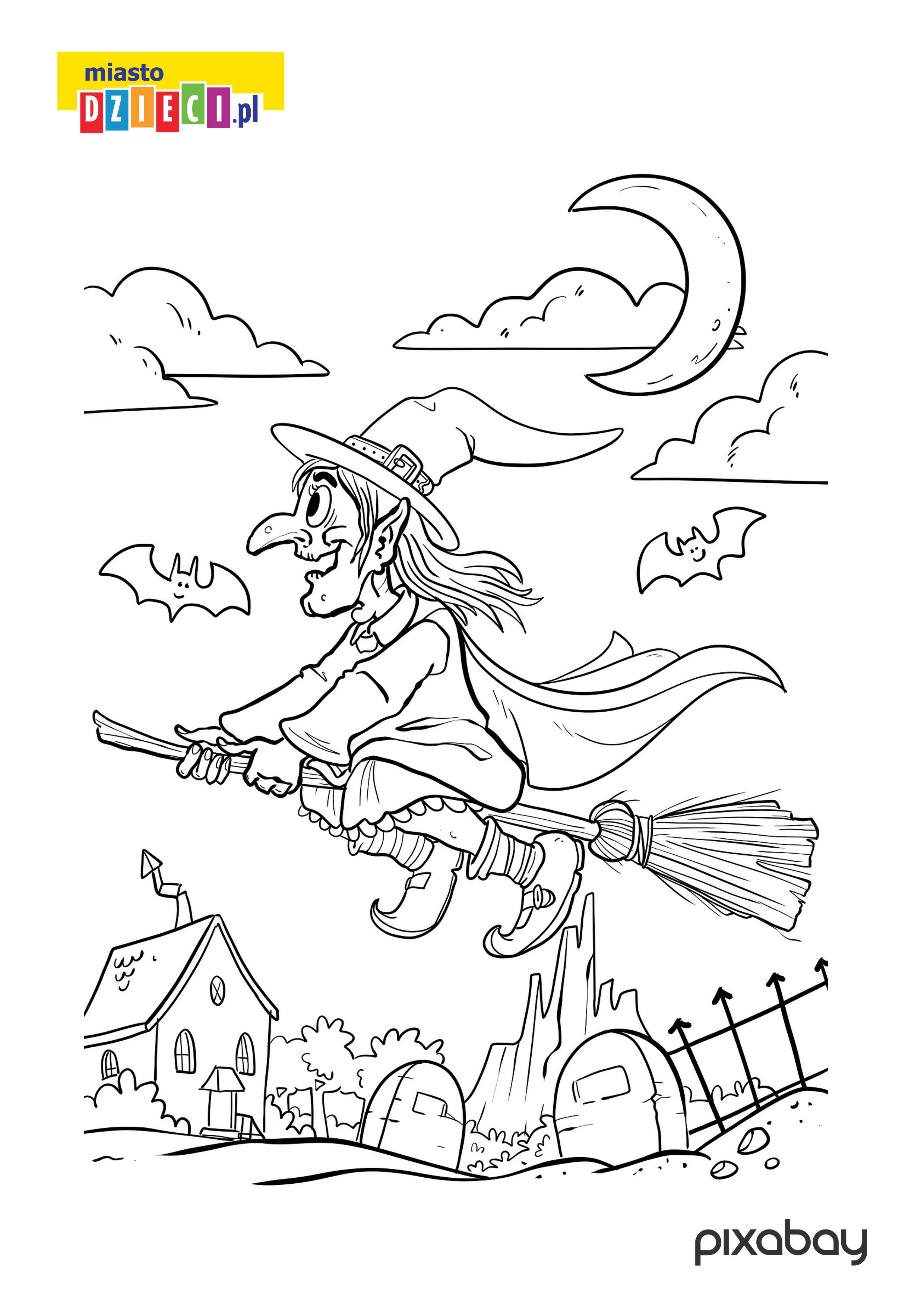 kolorowanka czarownica malowanki do druku