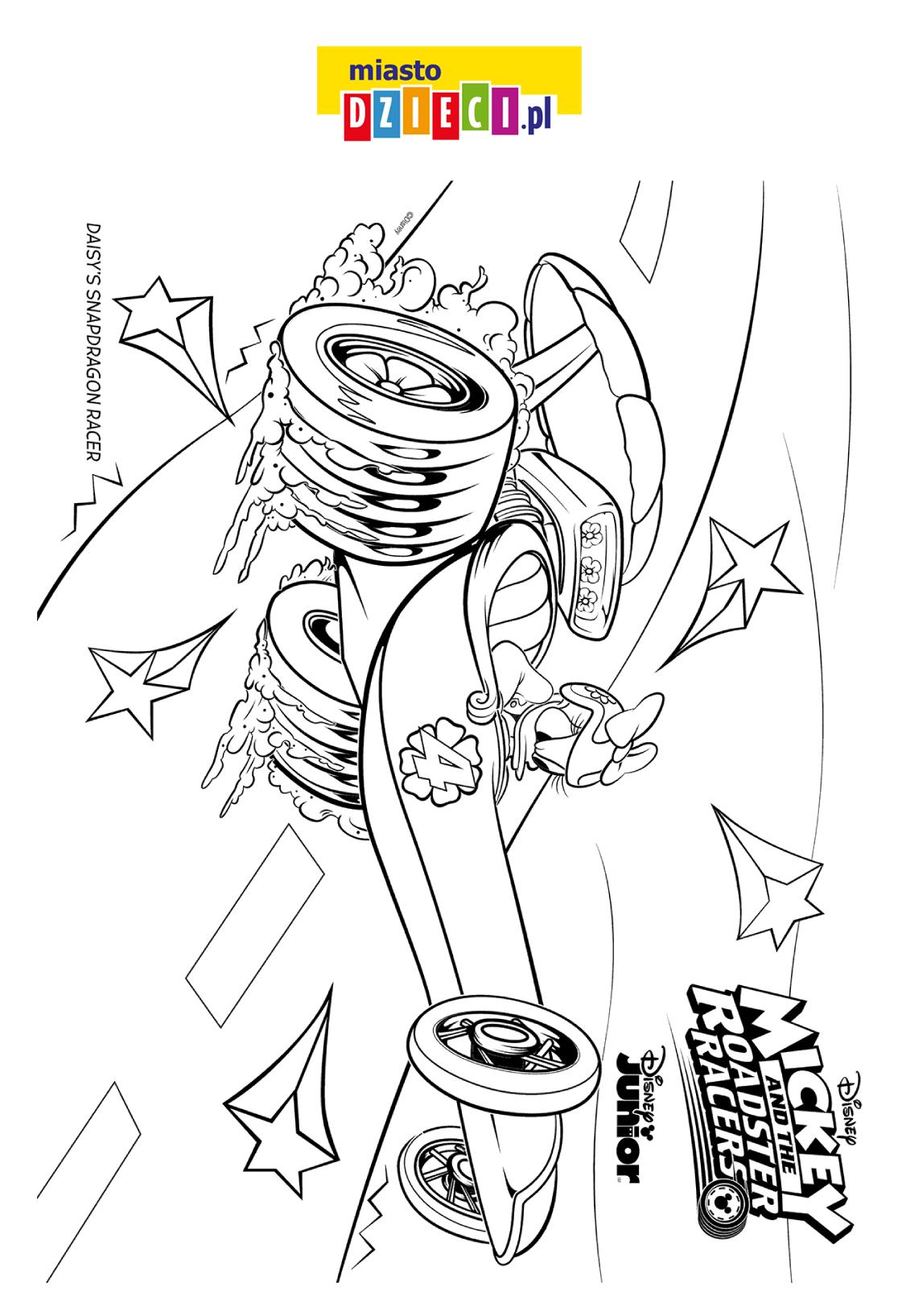 kolorowanka - Daisy i i jej wyścigowy samochód