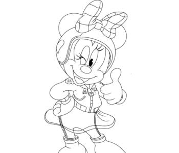 Minnie z pucharem - kolorowanka