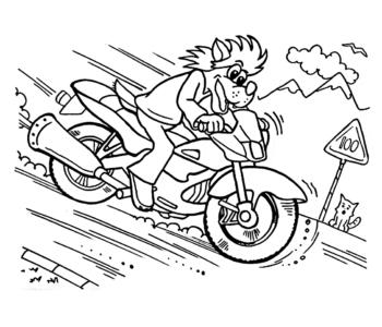 wilk na motorze - kolorowanka