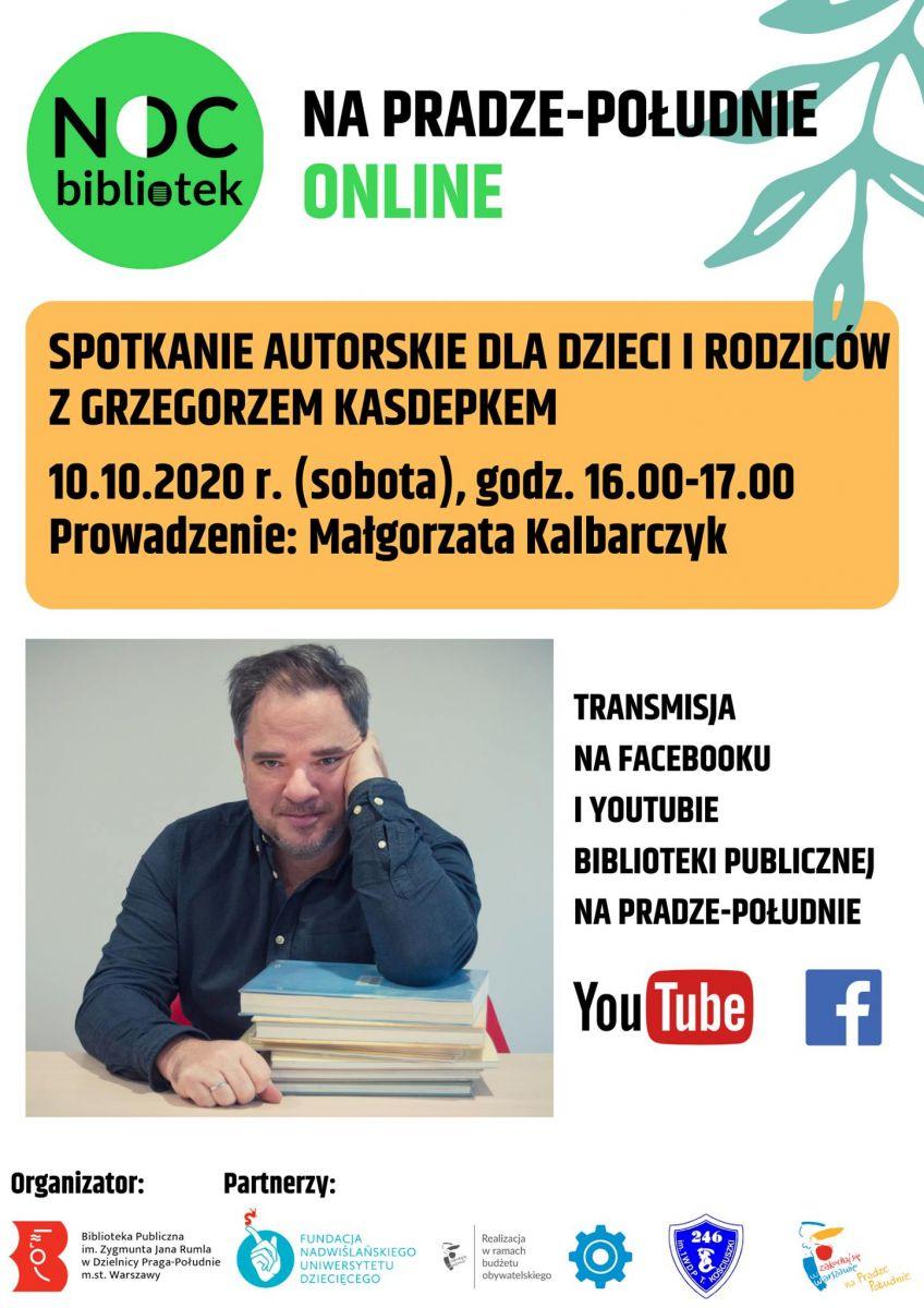 Spotkanie autorskie z Grzegorzem Kasdepkem ONLINE w ramach Nocy Bibliotek