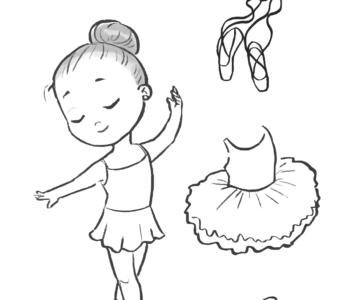 Strój baletnicy kolorowanka do druku, malowanki online dla dziewczynek