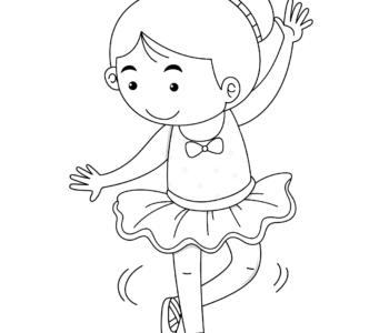 Tańcząca baletnica, kolorowanka do druku, malowanki dla dziewczynek
