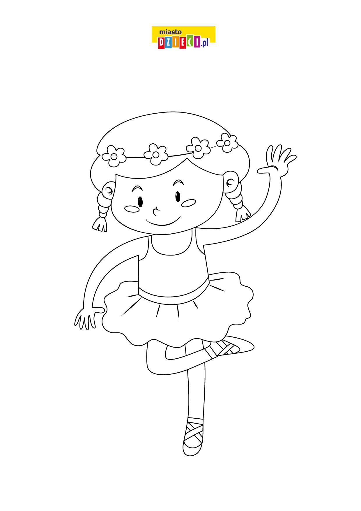 Mała tancerka kolorowanka do druku, malowanki online dla dziewczynek