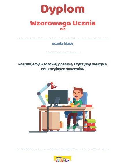 Dyplom wzorowego ucznia do druku, bezpłatne dyplomy szkolne do pobrania w pdf