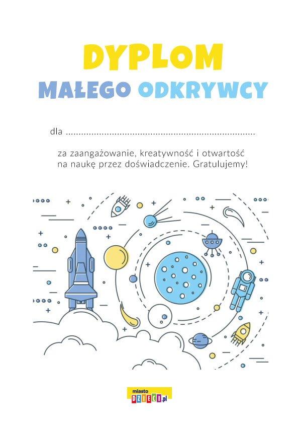 Dyplom Małego Odkrywcy do druku, dyplomy szkolne do pobrania w pdf