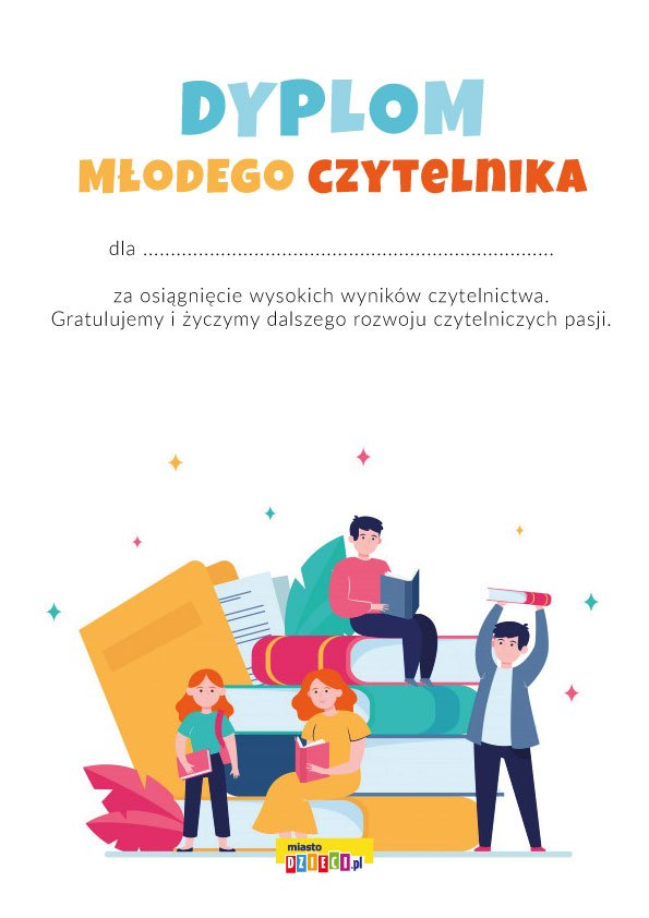 Dyplom Młodego Czytelnika do druku, dyplomy dla dzieci do pobrania