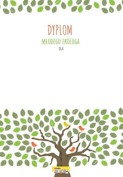 Dyplo Młodego Ekologa pdf do druku, bezpłatne dyplomy dla dzieci do pobrania