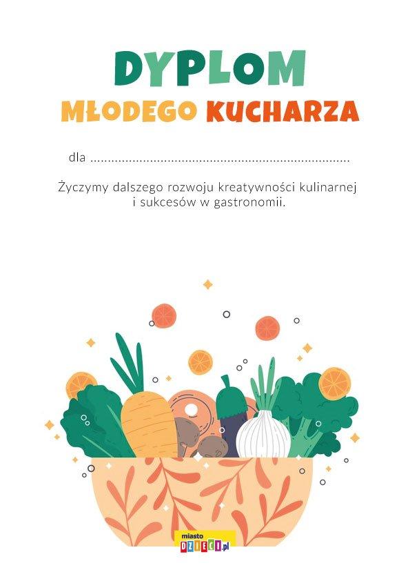 Dyplom Młodego Kucharza do druku pdf, bezpłatne dyplomy szkolne i przedszkolne
