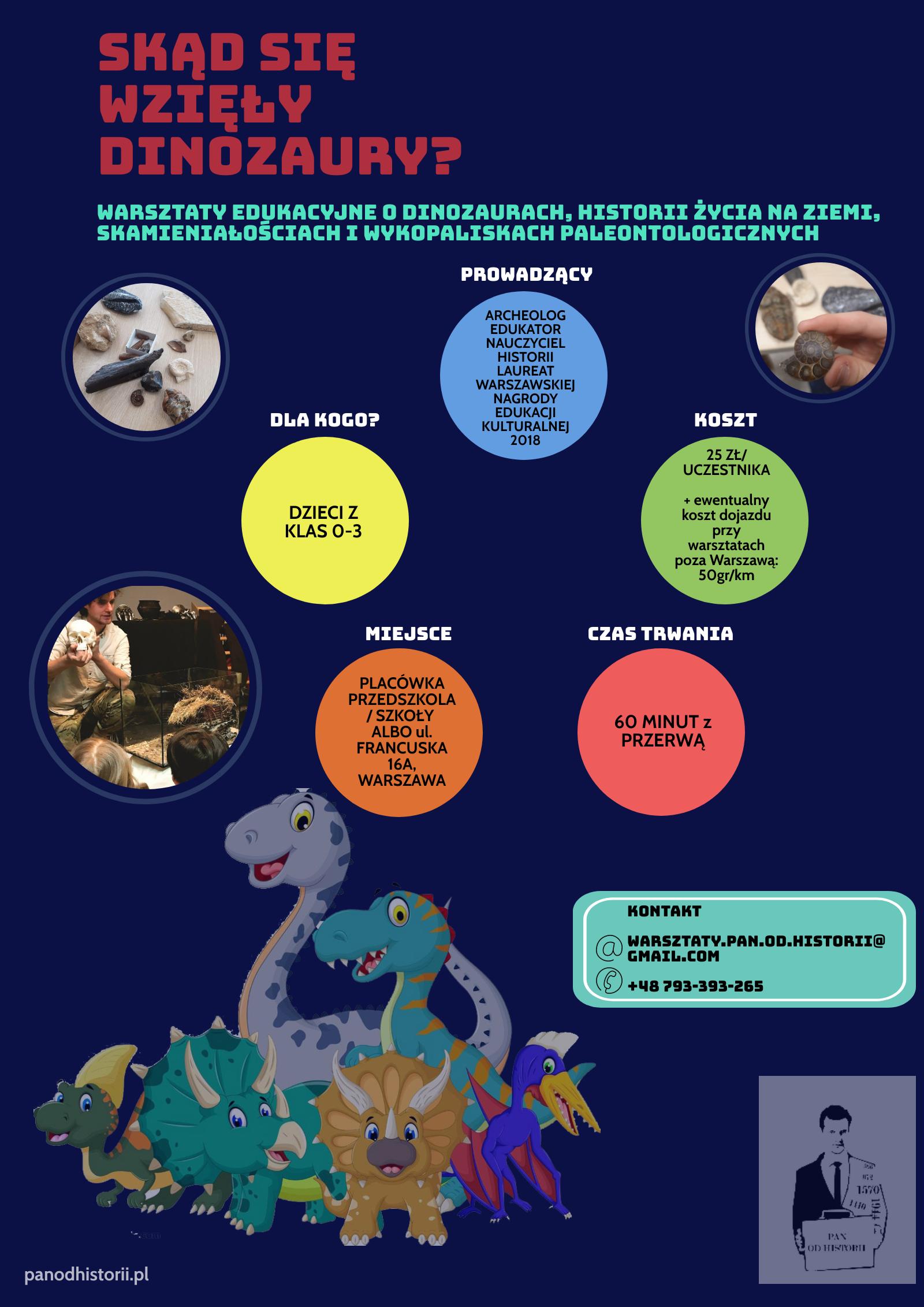 Warsztaty o historii życia na Ziemi, dinozaurach, skamieniałościach oraz wykopaliskach paleontologicznych