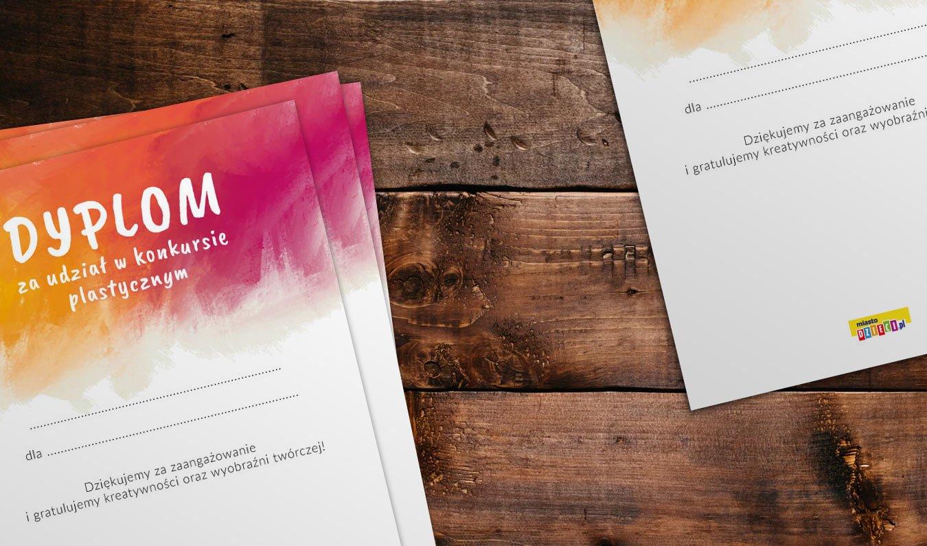 Dyplom udziału w konkursie plastycznym pdf do druku, bezpłatne dyplomy do pobrania