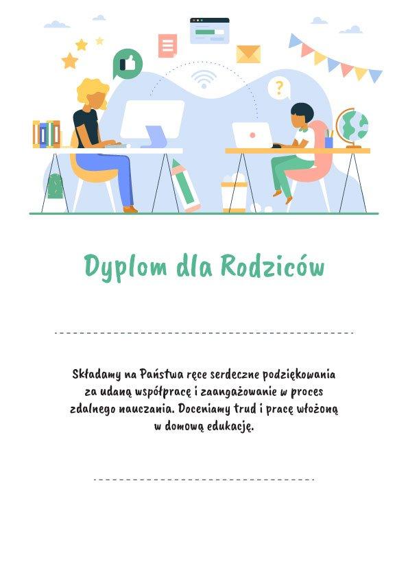 dyplom dla rodziców za zdalne nauczanie pdf do pobrania i wydruku
