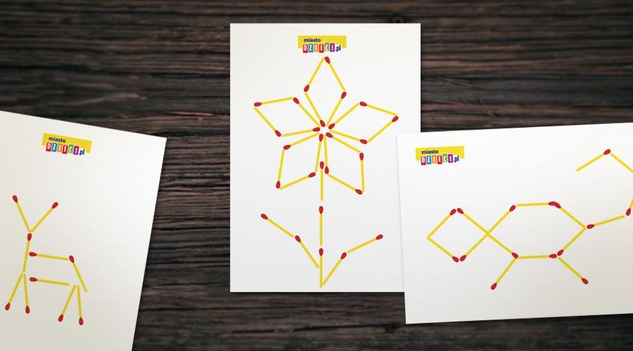 Wzory z zapałek do odwzorowania, zabawy dla dzieci układanki z zapałek
