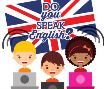 Rysunek z dziećmi uczacymi się języka angielskiego