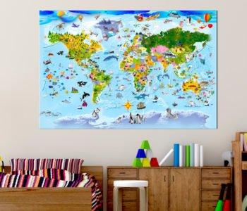 mapa świata dla dzieci na ścianę