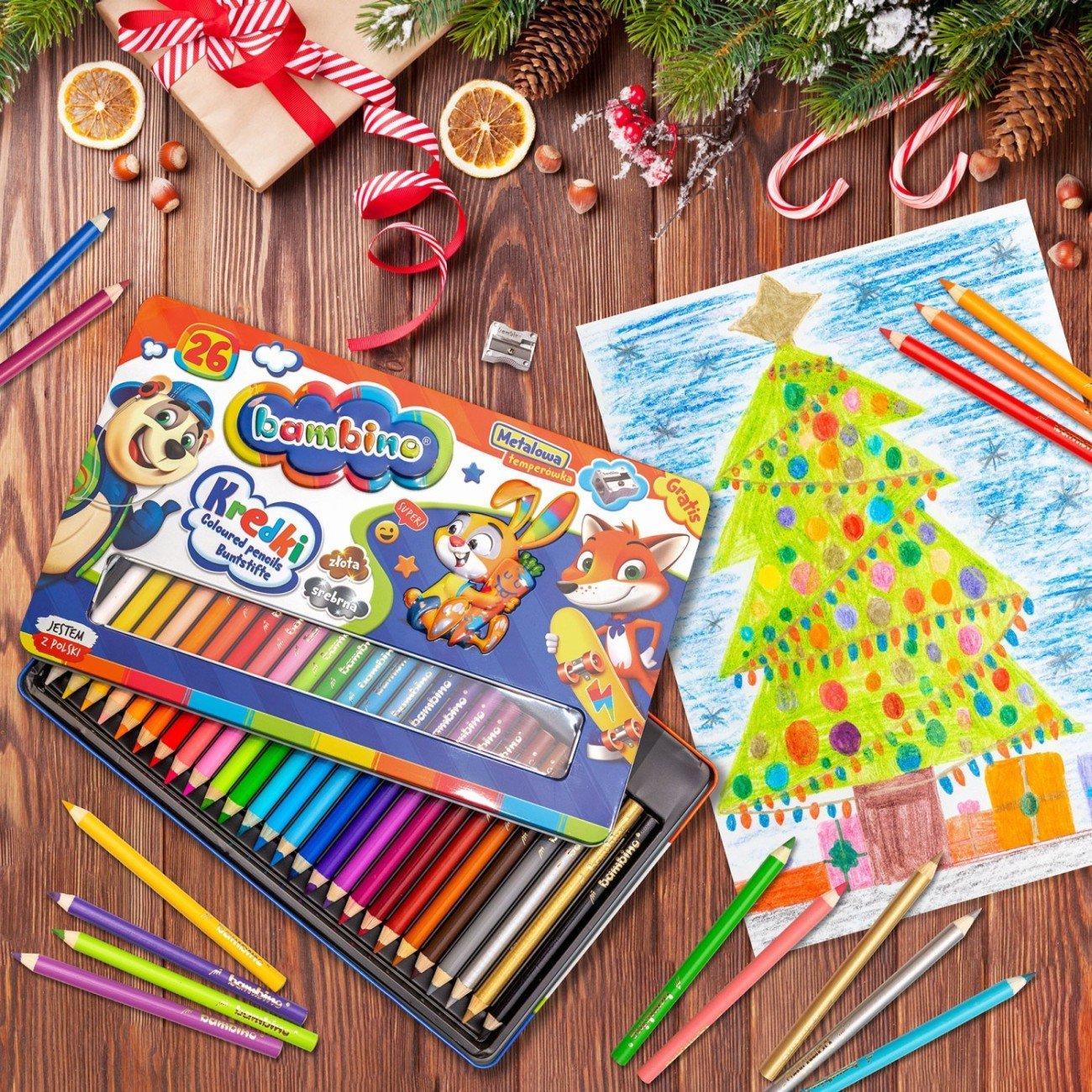 Bambino seria Zwierzaki Uczniaki zestaw kredek 26 kolorów w oprawie drewnianej