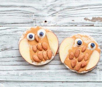 Śmieszne łatwe desery dla dzieci sowa na waflu