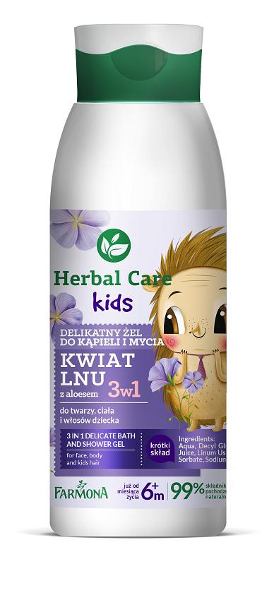 Herbal Car Kids – Delikatny żel do kąpieli i mycia, Kwiat Lnu-JEZYK