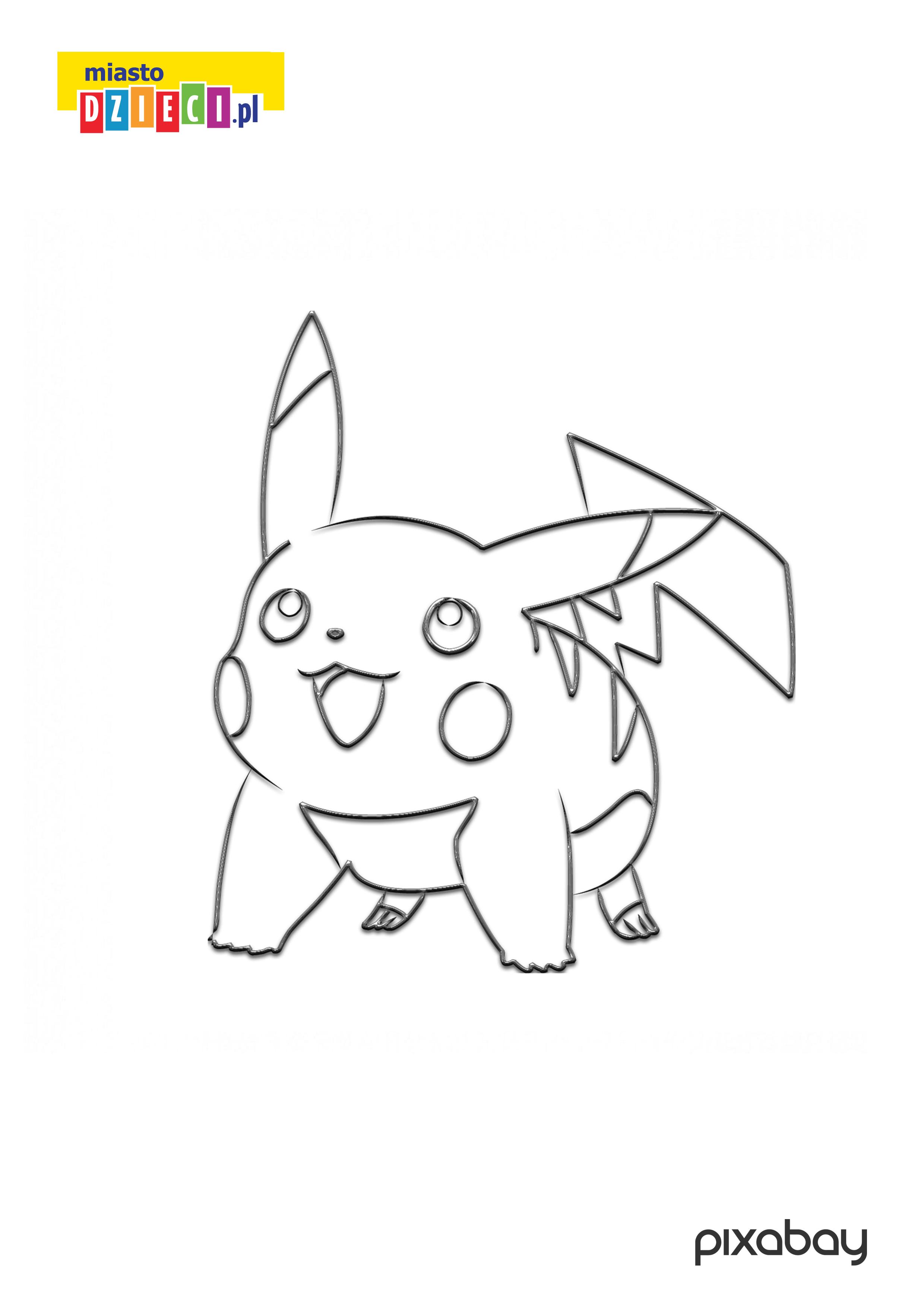 Pikachu kolorowanka do druku, darmowe malowanki z pokemonami