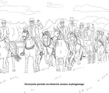 Parada konna, kolorowanka dla dzieci online. Darmowe kolorowanki do druku z końmi