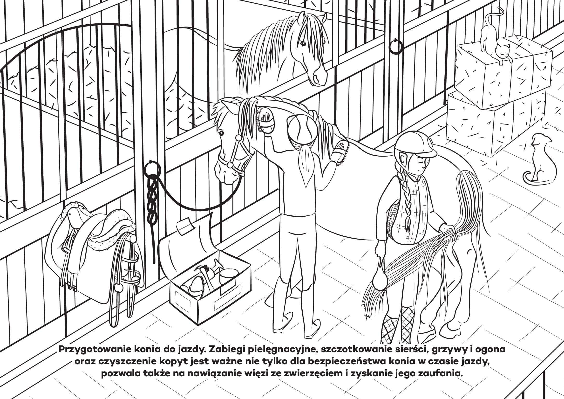 Koń w stajni, kolorowanka dla dzieci. Darmowe kolorowanki online do druku z końmi