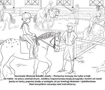 Nauka jazdy konnej, kolorowanka dla dzieci. Darmowe kolorowanki do druku z końmi