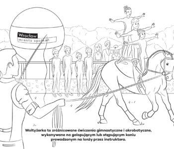 Darmowe kolorowanki konie. Koń na lonży obrazek do pobrania i druku
